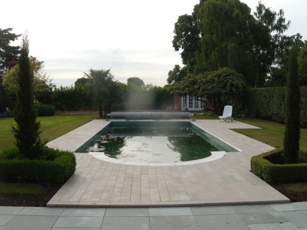 Villebois flamed French Limestone  pool surround