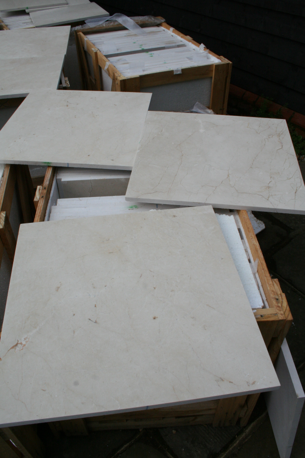 Crema Marfil marble - photo of commercial grade limestone not marble tiles