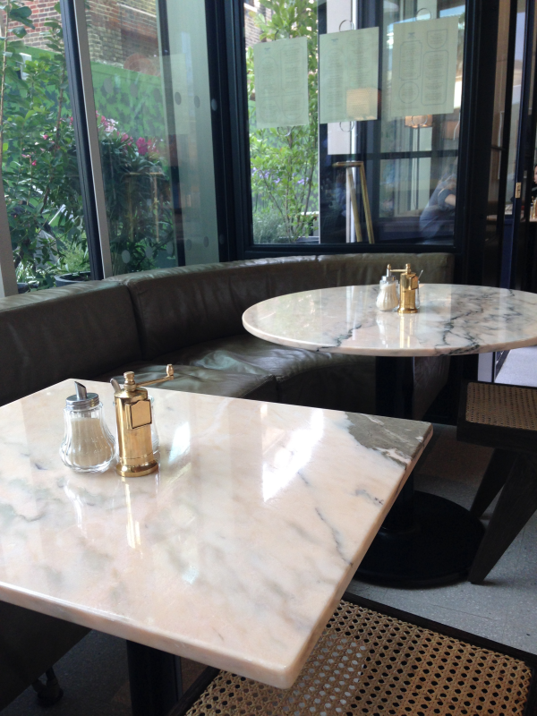 Granger and Co Kings Cross restaurant table tops in Portuguese Rosa Aurora Rosa, pink marble