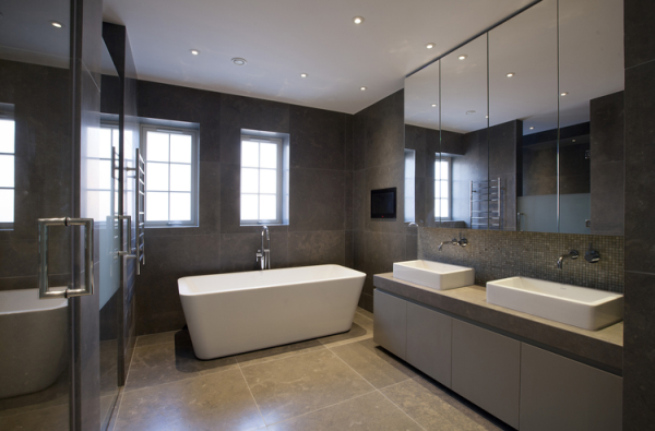Portuguese Limestone - Azul Valverde floor and wall tiles and vanity top