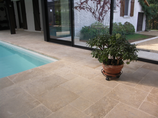 French limestone pool surround antique finish