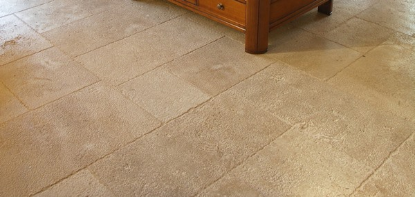 bushhammered and brushed French limestone