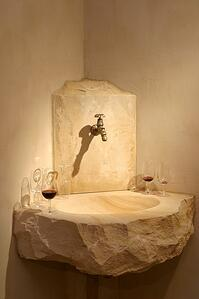 French limestone boulder basin with chiselled edge