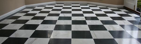 black and white Italian marble floor tiles