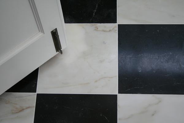 Nero Marquina and Italian Calacatta marble black and white floor tiles