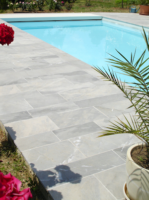 French marble - Bleu de Savoie acid etched Swimming pool