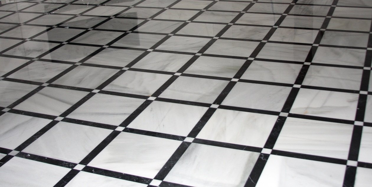 Spanish Blanco Macael and Nero Marquina black and white marble floor tiles