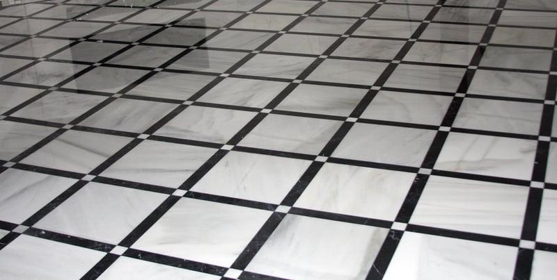Spanish Blanco Macael And Nero Marquina Black White Marble Floor Tiles