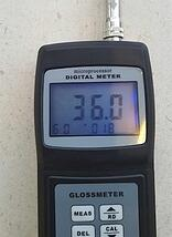 Restoration of a limestone floor - gloss meter reading before the work starts