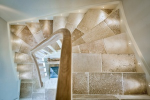 Vieux Monde French limestone staircase reclaimed look