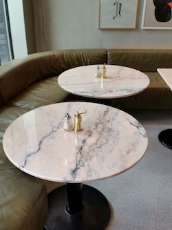 Portuguese marble: Rosa Aurora Rosa marble table tops for Grangers